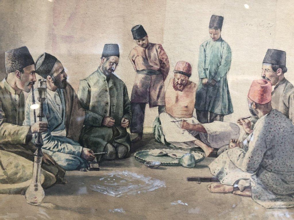 Persian watercolor, 8 men w/ Hookah pipe, c.1930 - 2
