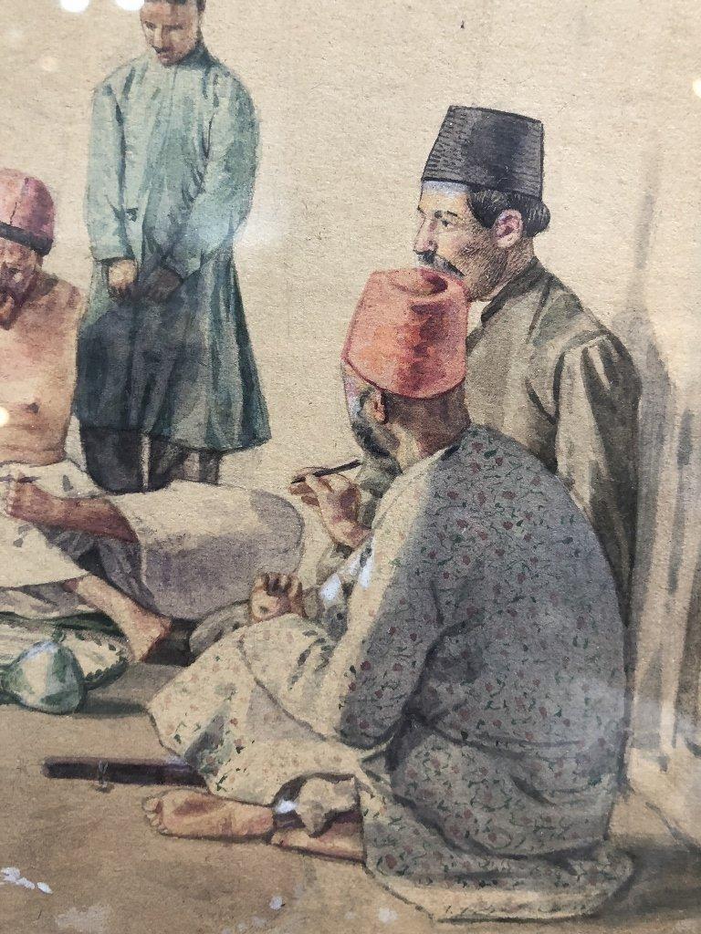 Persian watercolor, 8 men w/ Hookah pipe, c.1930 - 3