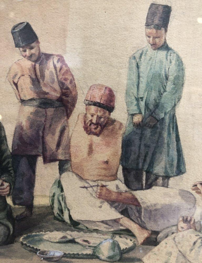 Persian watercolor, 8 men w/ Hookah pipe, c.1930 - 4