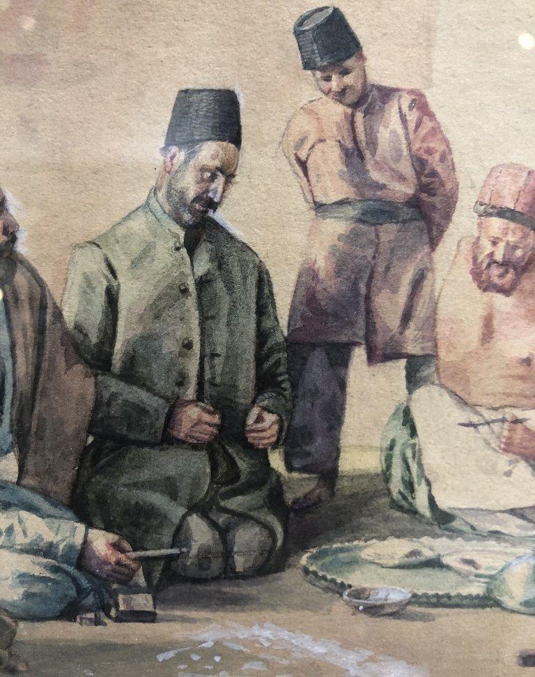 Persian watercolor, 8 men w/ Hookah pipe, c.1930 - 5