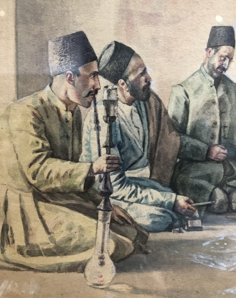 Persian watercolor, 8 men w/ Hookah pipe, c.1930 - 6
