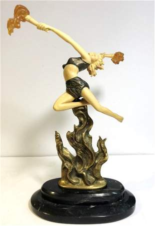 Art Deco style figurine with flames c1965