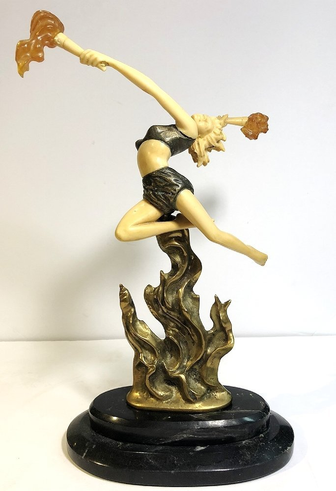 Art Deco style figurine with flames, c.1965