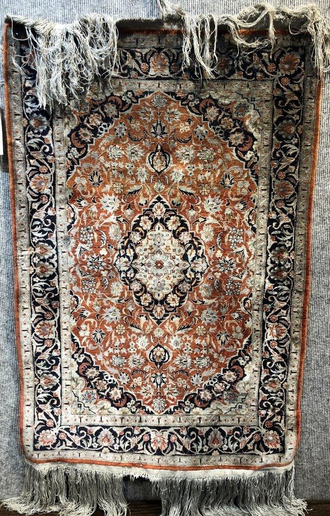 Small handmade silk carpet, c.1940