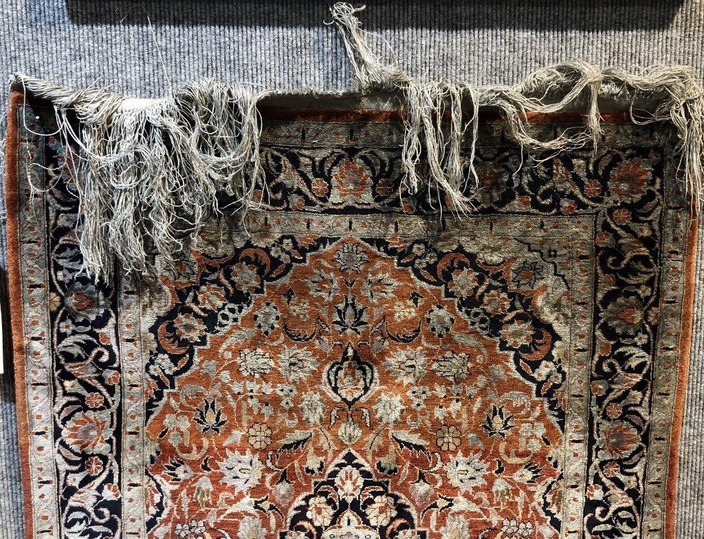 Small handmade silk carpet, c.1940 - 7
