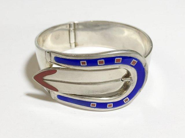 Gucci silver and enamel buckle bracelet, 2.4 t. oz