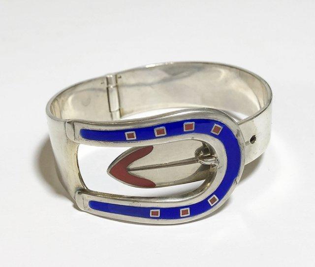 Gucci silver and enamel buckle bracelet, 2.4 t. oz - 2