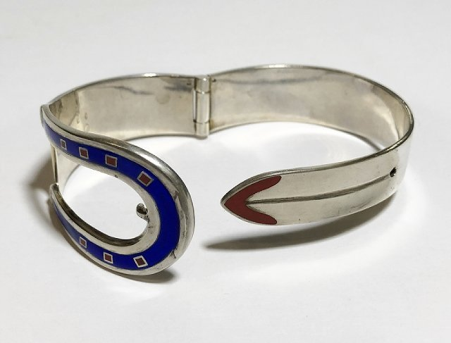 Gucci silver and enamel buckle bracelet, 2.4 t. oz - 5