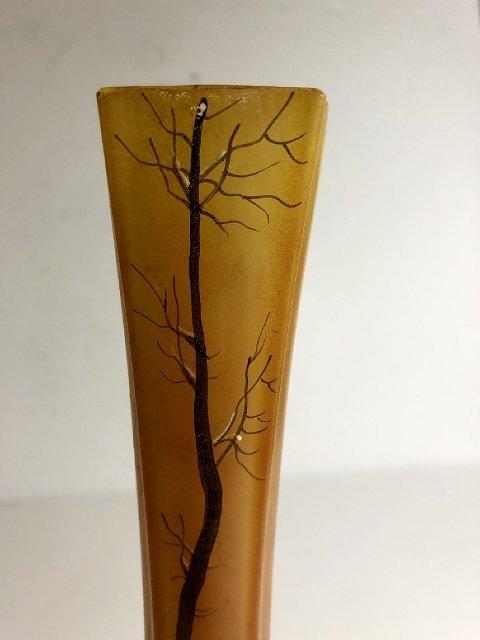 Legras enamel vase, winter in snow,(1st),c.1900 - 9