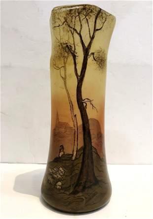Legras scenic vase sheep c1905