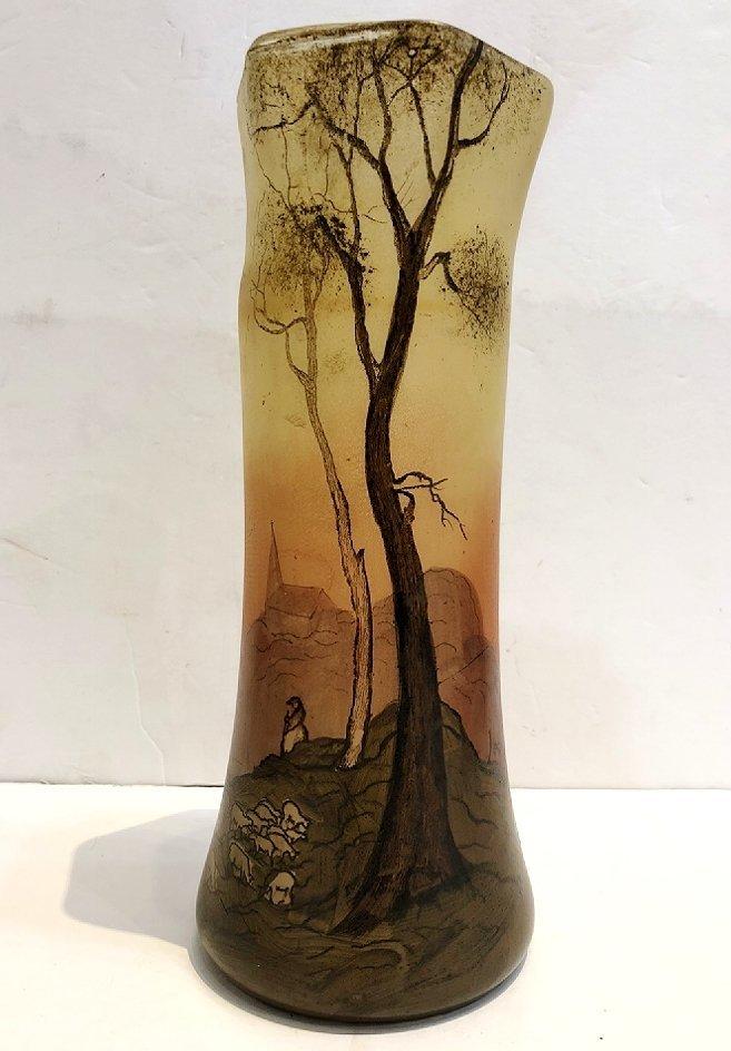 Legras scenic vase, sheep, c.1905