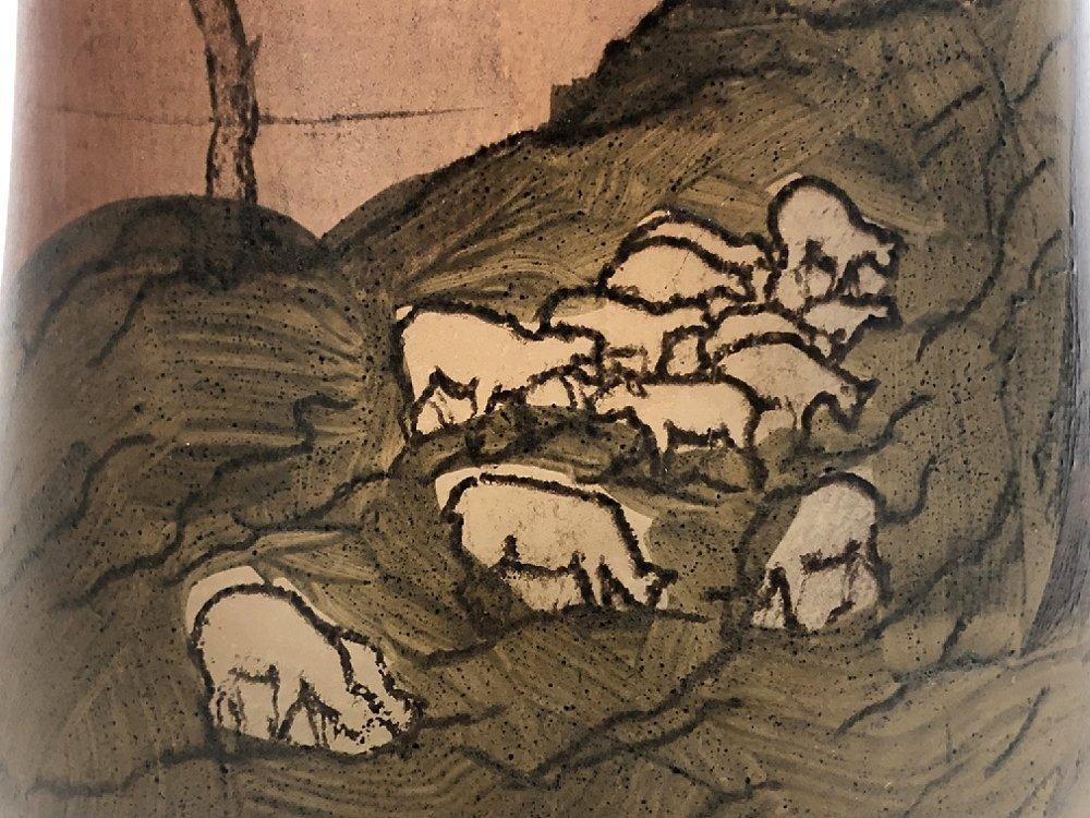 Legras scenic vase, sheep, c.1905 - 6