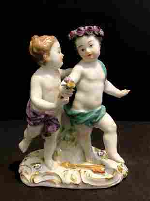 Meissen fig two playing Putti c1900