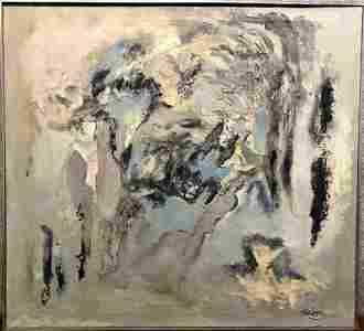 """Abstract painting by Ernest Briggs, c.1950 39"""" x 35"""""""