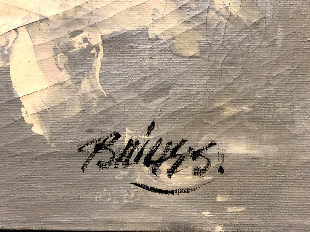 """Abstract painting by Ernest Briggs, c.1950 39"""" x 35"""" - 2"""