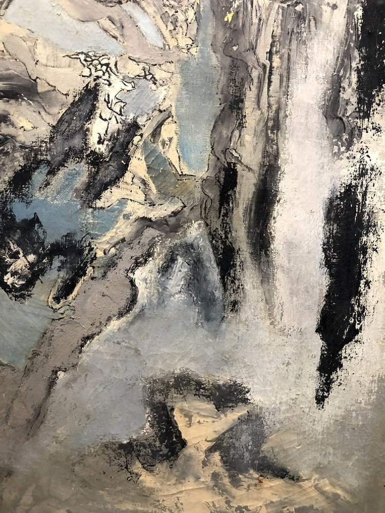 """Abstract painting by Ernest Briggs, c.1950 39"""" x 35"""" - 5"""