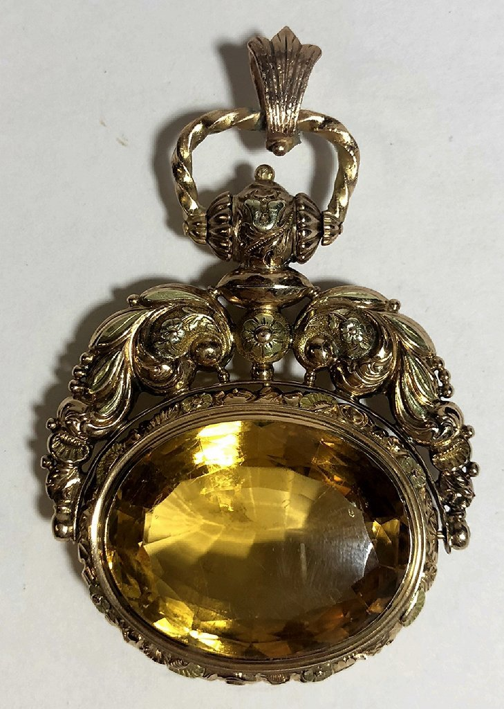 14k and citrine Georgian/Vict fob,c.1850, 18.5 dwts