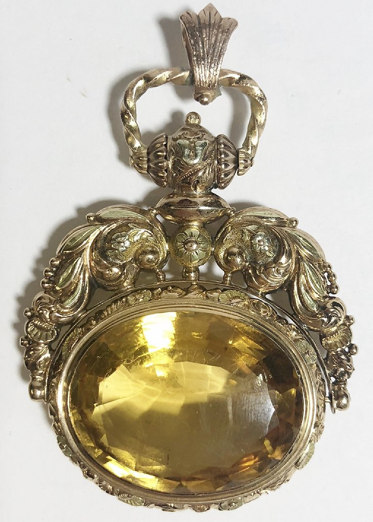 14k and citrine Georgian/Vict fob,c.1850, 18.5 dwts - 2