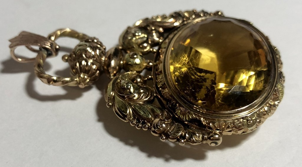 14k and citrine Georgian/Vict fob,c.1850, 18.5 dwts - 5