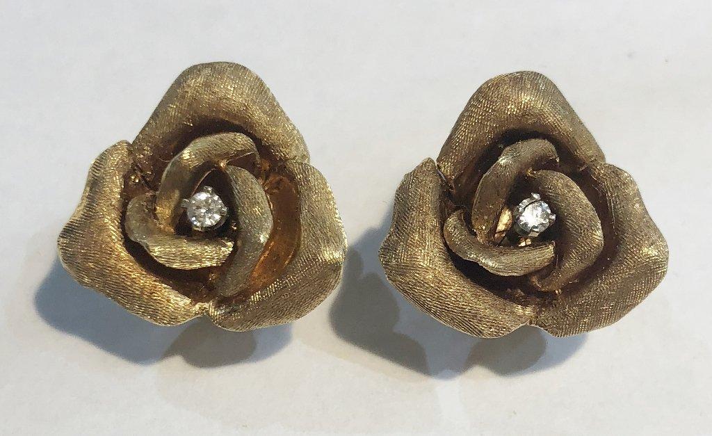 14k diamond earrings by Skal(rose design), 6.2dwts