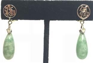 14k jade teardrop earrings 43 dwts