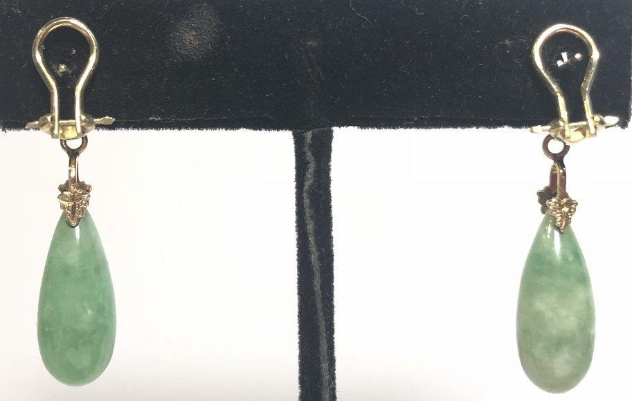 14k jade teardrop earrings, 4.3 dwts - 2