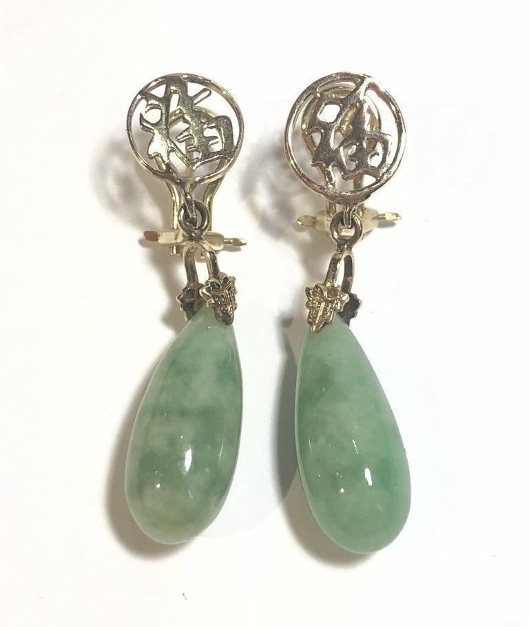 14k jade teardrop earrings, 4.3 dwts - 3
