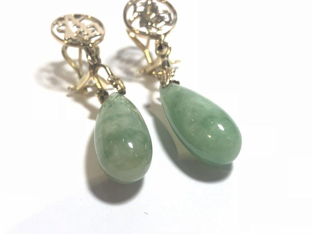 14k jade teardrop earrings, 4.3 dwts - 4