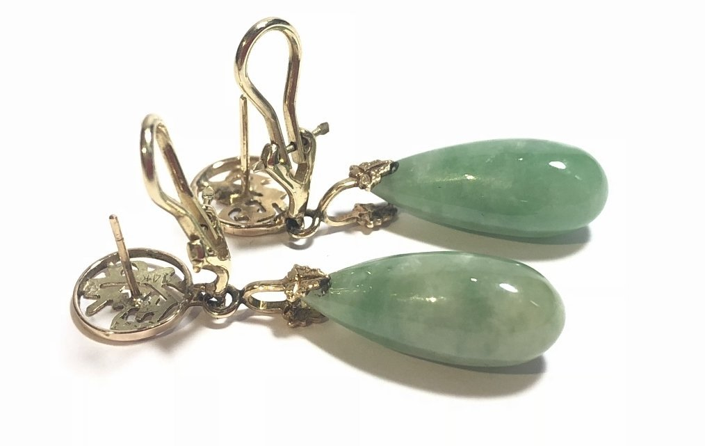 14k jade teardrop earrings, 4.3 dwts - 5