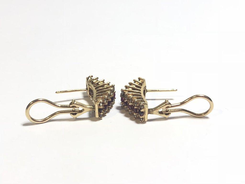 14k ruby diamond earrings, 3.2 dwts - 6