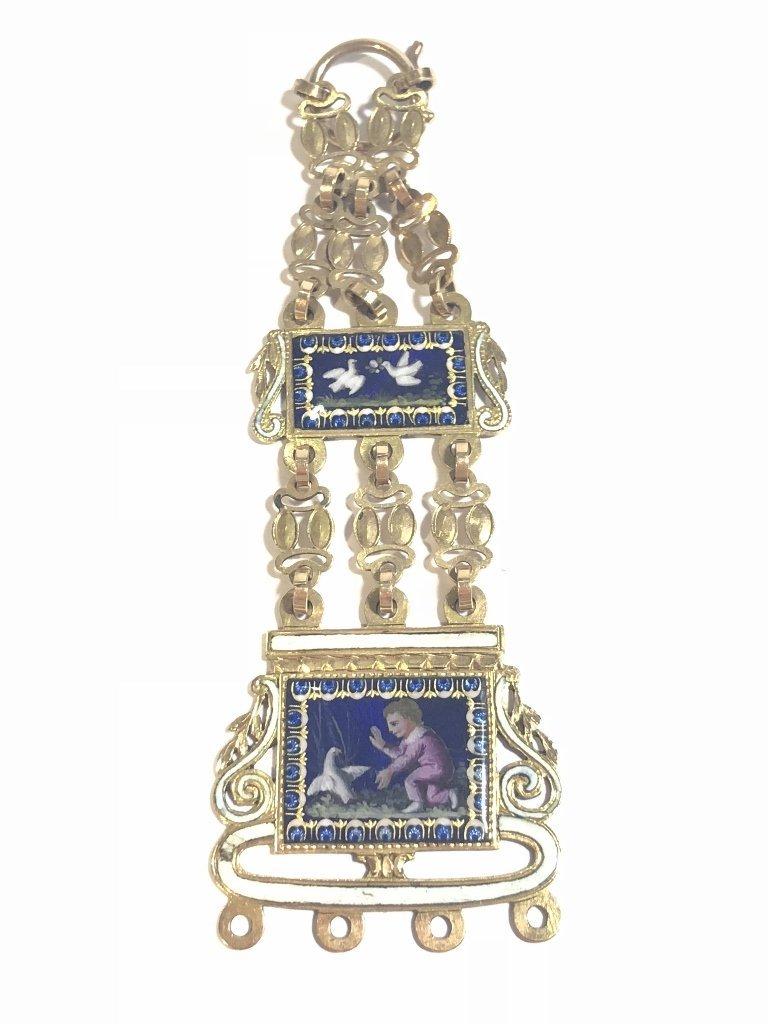 18k gold enamel French chatelaine, missing drops