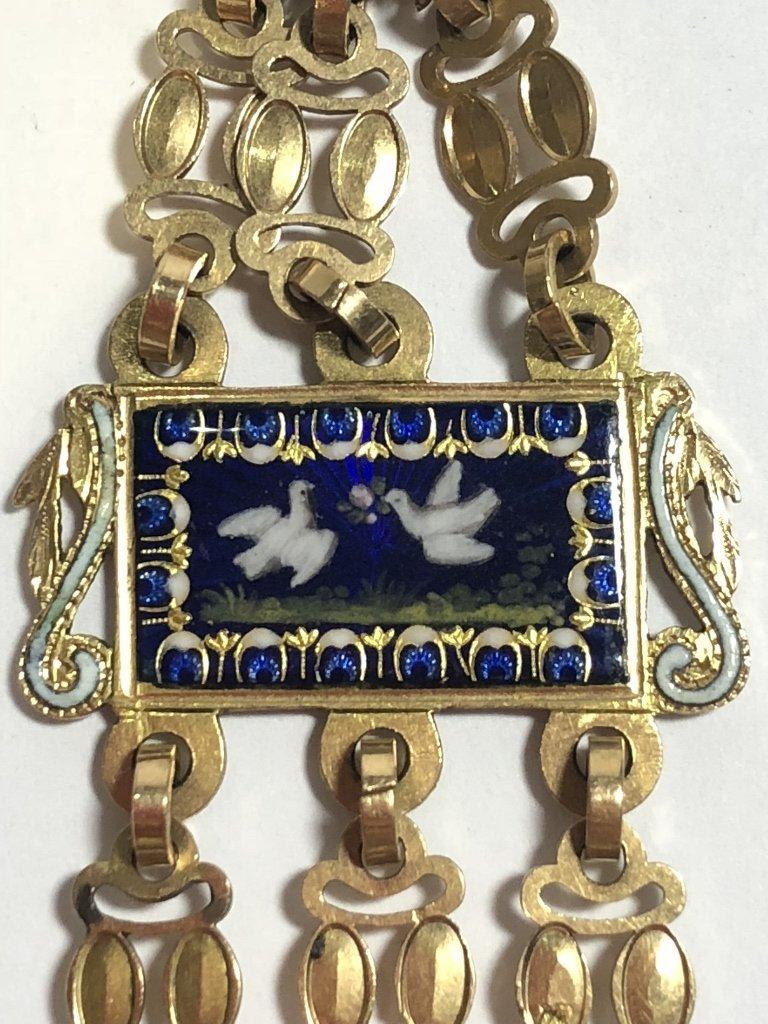 18k gold enamel French chatelaine, missing drops - 3