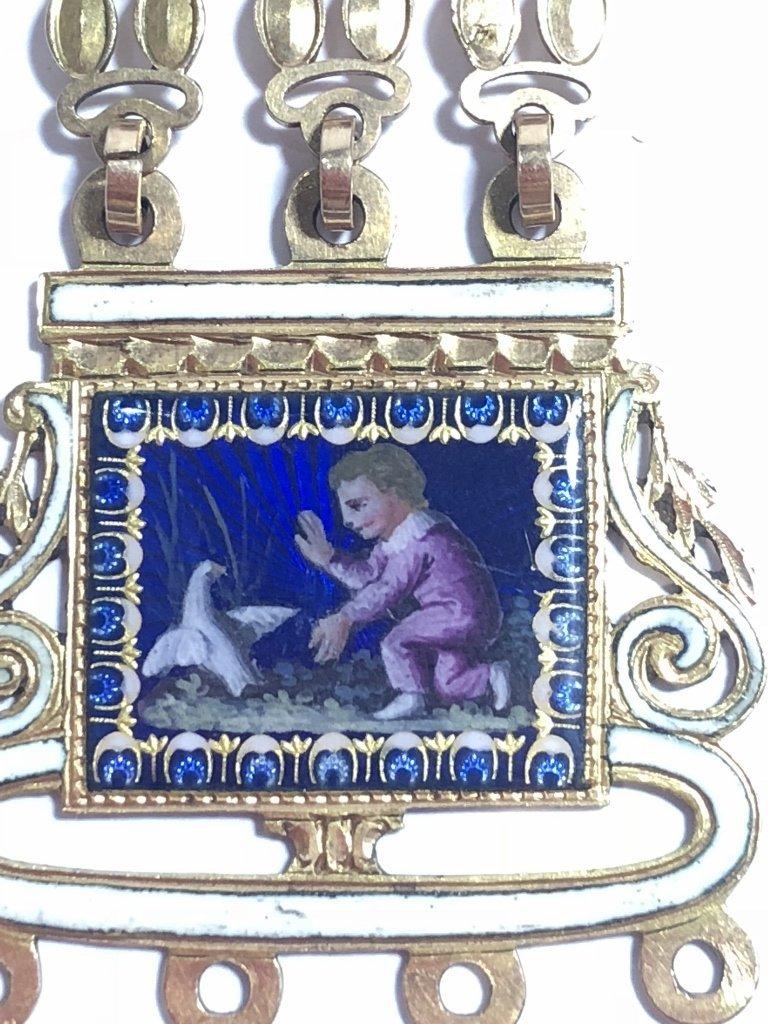18k gold enamel French chatelaine, missing drops - 4