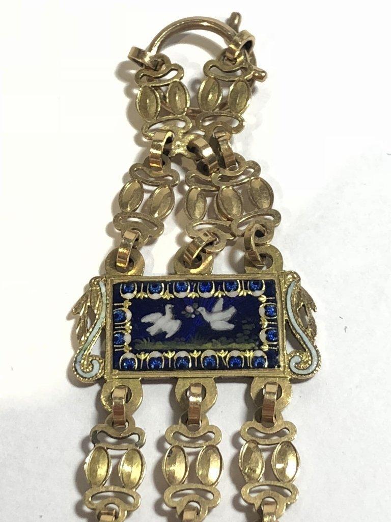 18k gold enamel French chatelaine, missing drops - 5