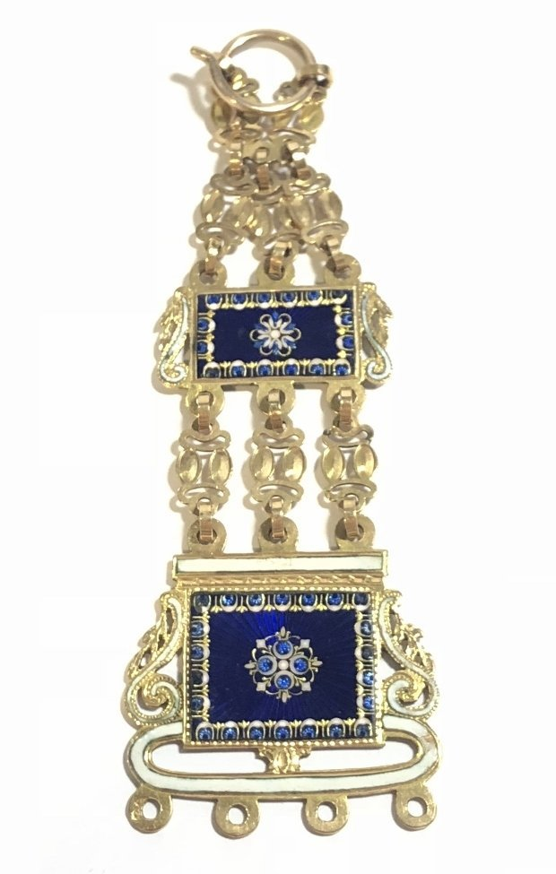 18k gold enamel French chatelaine, missing drops - 7