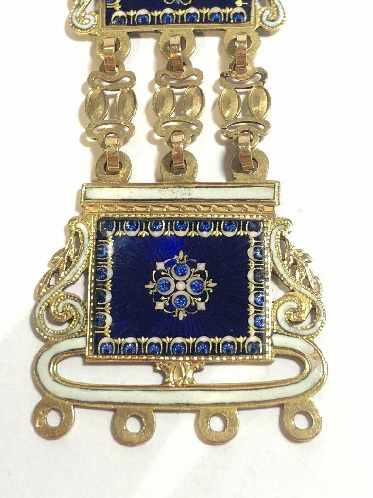 18k gold enamel French chatelaine, missing drops - 8