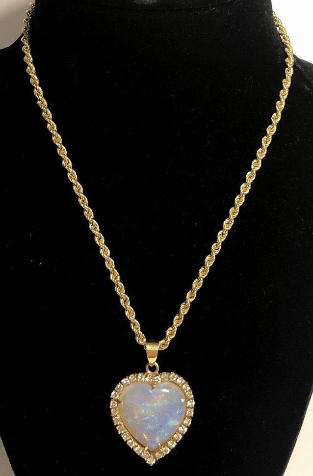 14k heart shaped opal diamond pend neck, 9.8 dwts