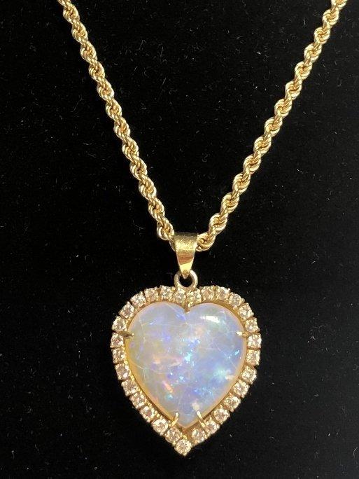 14k heart shaped opal diamond pend neck, 9.8 dwts - 2