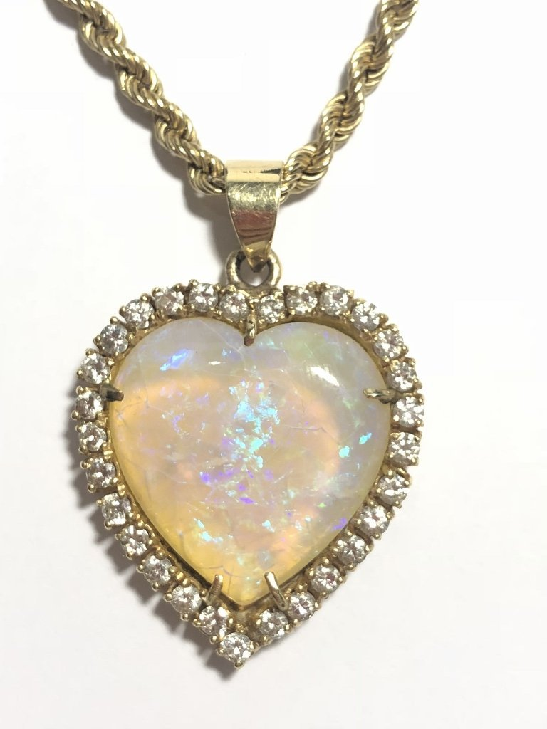 14k heart shaped opal diamond pend neck, 9.8 dwts - 3