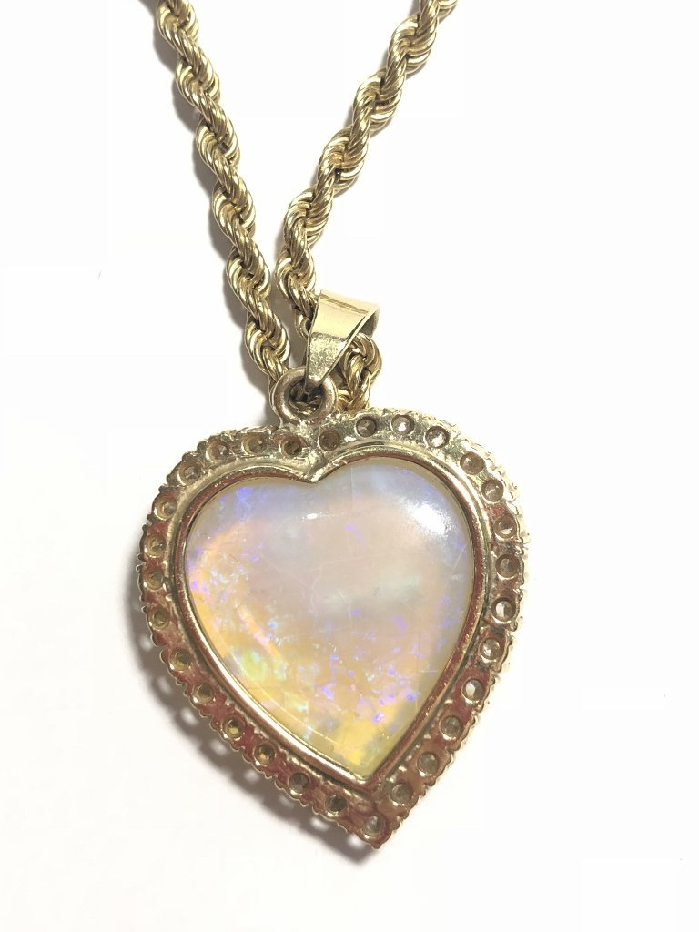 14k heart shaped opal diamond pend neck, 9.8 dwts - 6