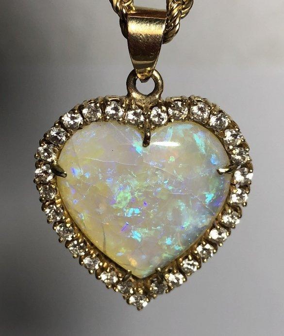 14k heart shaped opal diamond pend neck, 9.8 dwts - 7