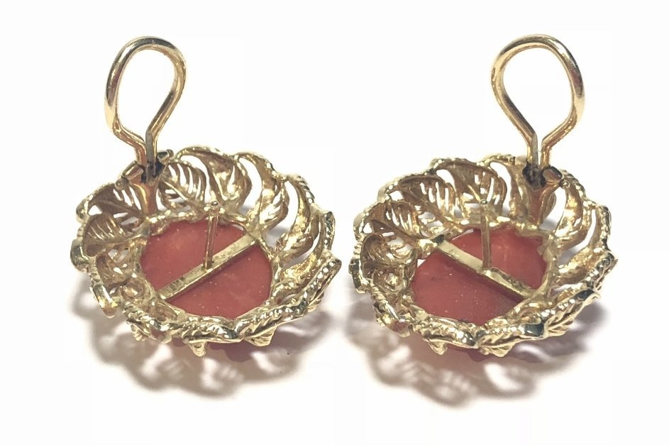 14k ox-blood coral earrings, circa 1965, 8.1 dwts - 5