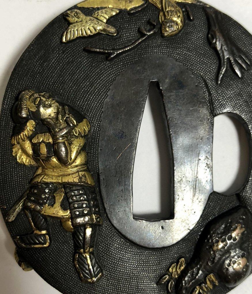 Iron, gold and mixed metal Tsuba,c.1890 - 3
