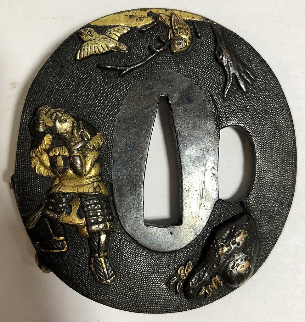 Iron, gold and mixed metal Tsuba,c.1890 - 4