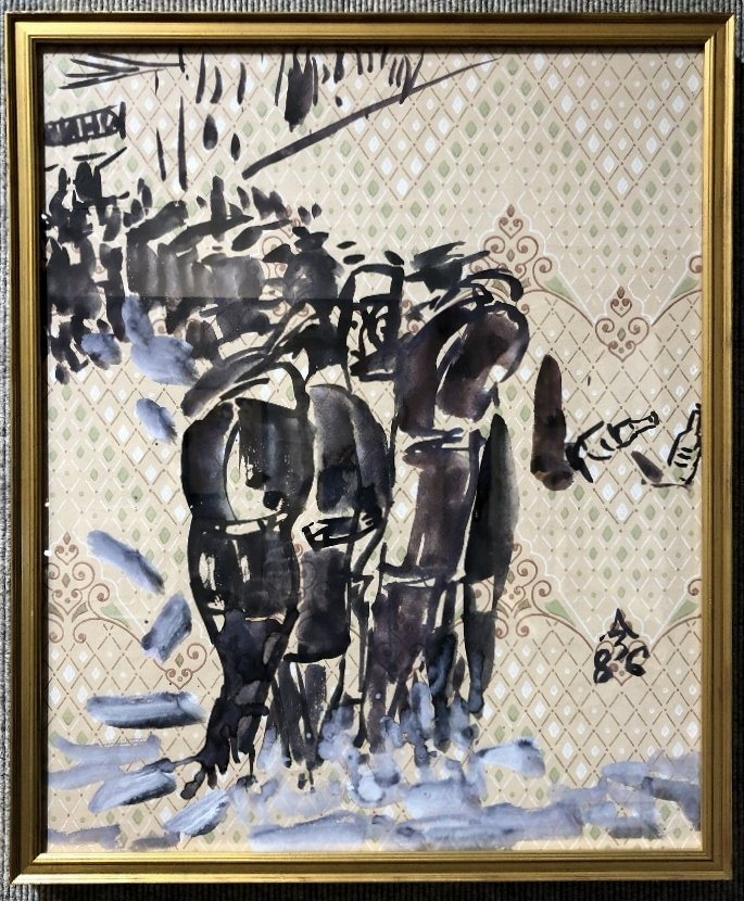 Gouache & watercolor by Anatoly Zverev-People walking