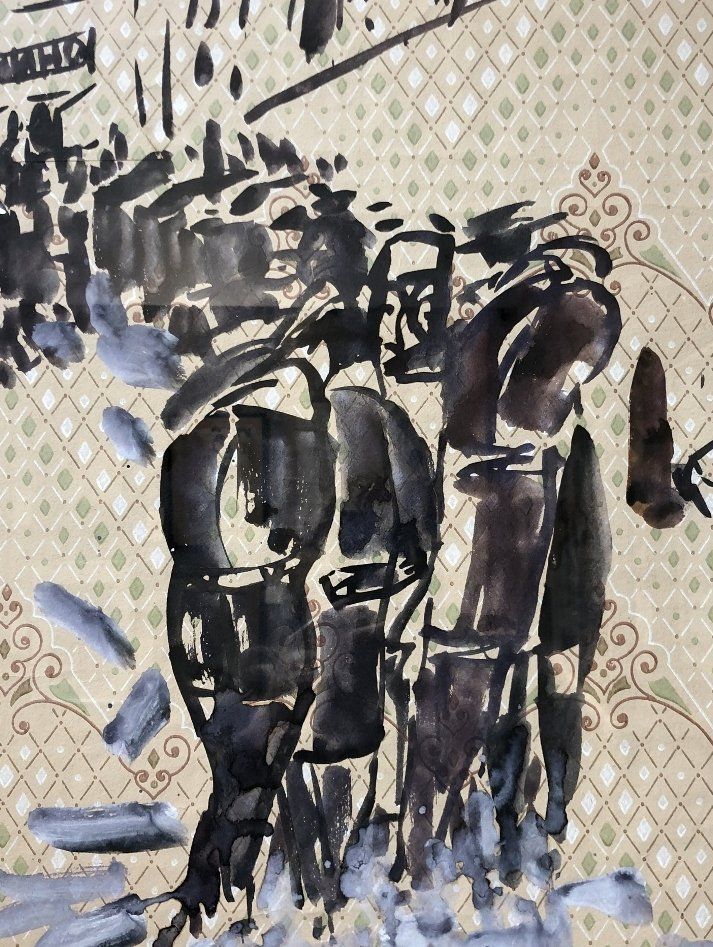 Gouache & watercolor by Anatoly Zverev-People walking - 4