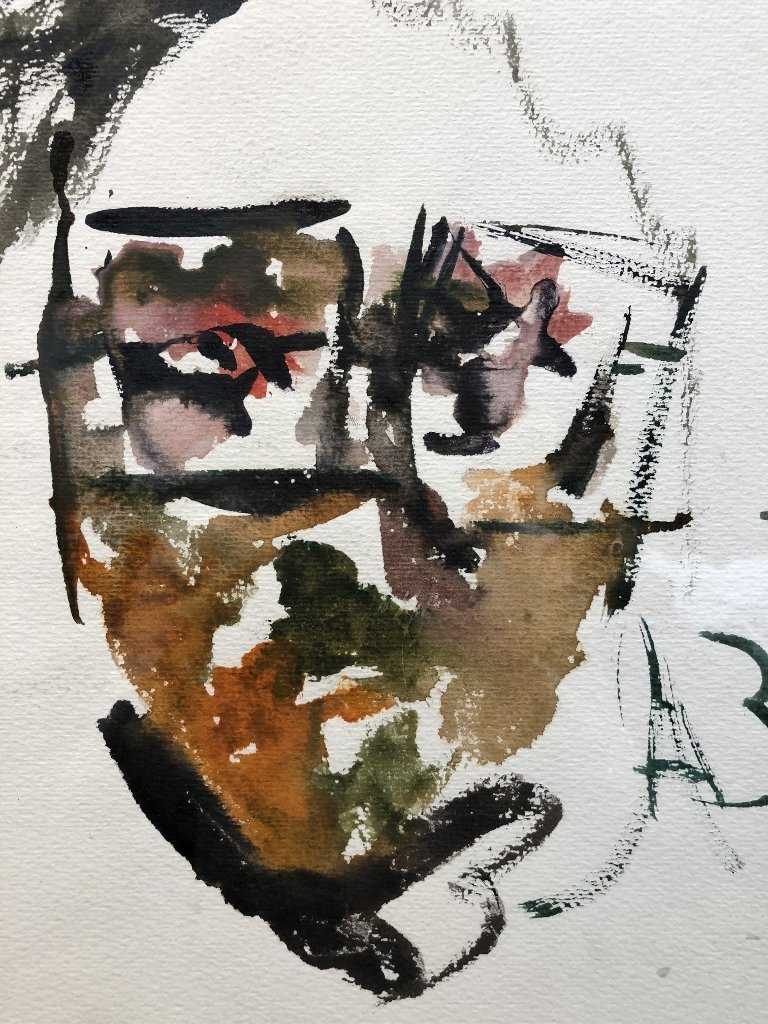 Watercolor by Anatoly Zverev-face - 2