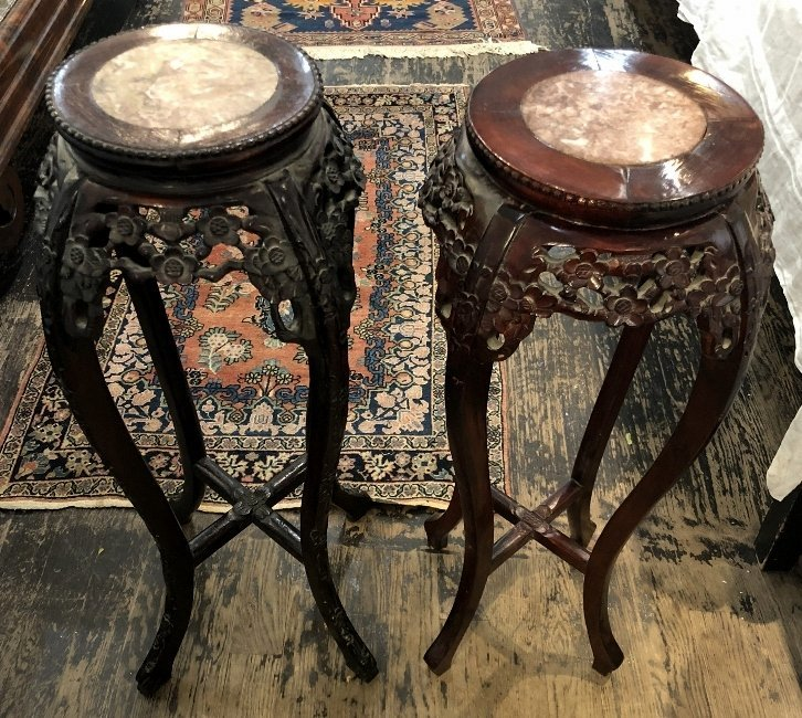 Two Chinese wood plant stands, c.1975