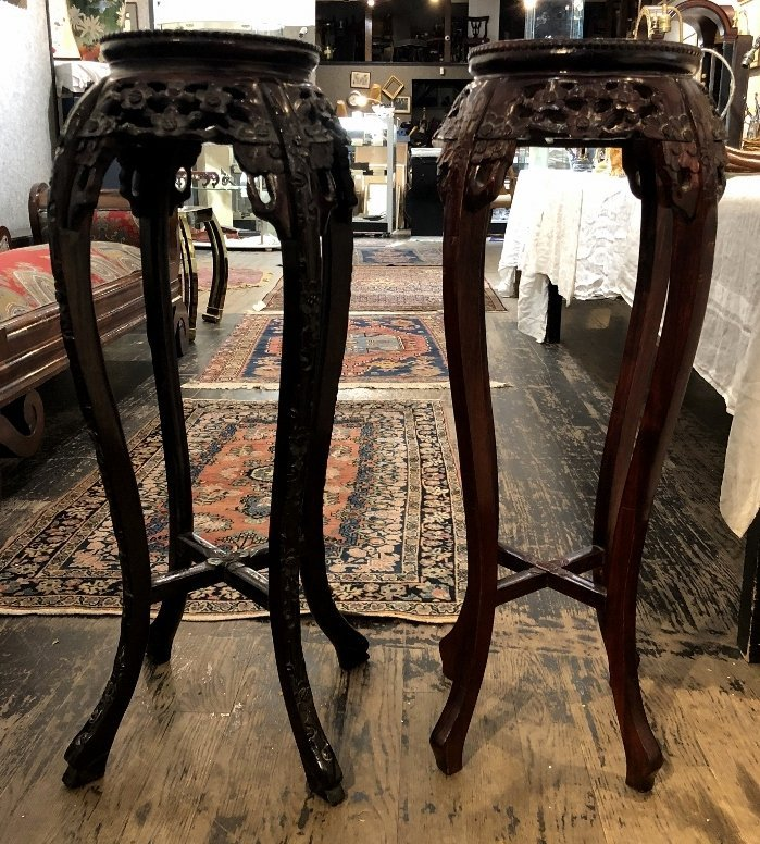 Two Chinese wood plant stands, c.1975 - 4