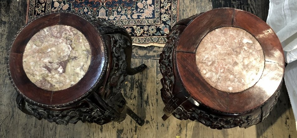 Two Chinese wood plant stands, c.1975 - 5